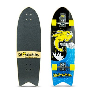Fish Tail 32 Flying Fish Surfing Skateboard. Colour: Yellow and Black