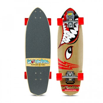 "SmoothStar Surfing Skateboard - 30"" Barracuda Natural wood grain"